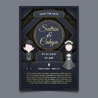 Uitnodiging bruiloft, luxe achtergrondthema
