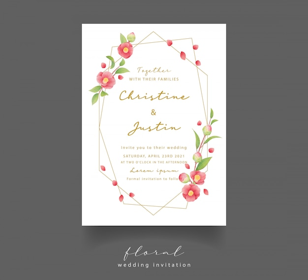 Uitnodiging bruiloft met aquarel camellia bloemen