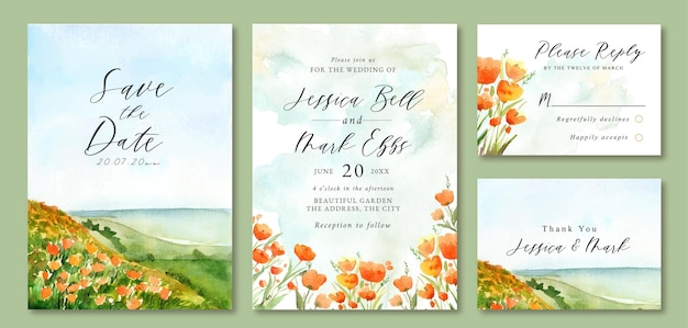 Uitnodiging bruiloft met aquarel landschap van ocean beach en floral field