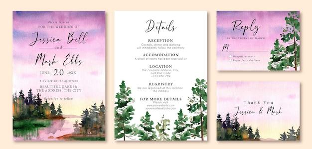 Uitnodiging bruiloft met aquarel landschap van paarse zonsondergang luchten
