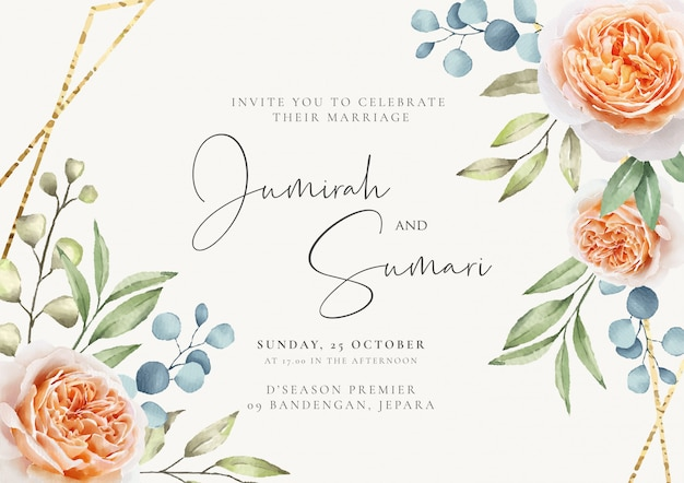 Uitnodiging bruiloft met bloemen en gouden frame
