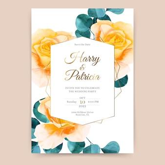 Uitnodiging bruiloft met gele rozen