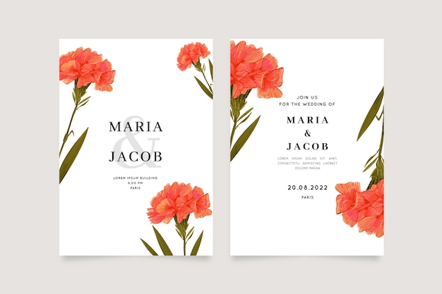 Uitnodiging bruiloft met grote bloem