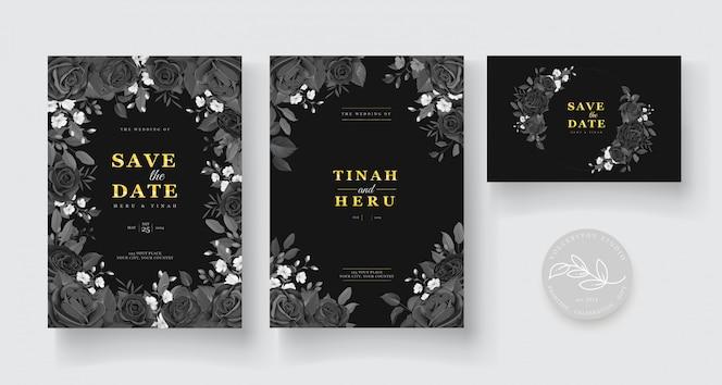 uitnodiging bruiloft met mooie bloem decoratie ontwerp
