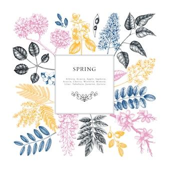 Uitnodiging bruiloft, rsvp, wenskaart. vintage frame met lentebomen met bloemen, bladeren, takken schetsen. elegant lente bloemen sjabloon - acacia, jasmijn, blauweregen, lila bomen
