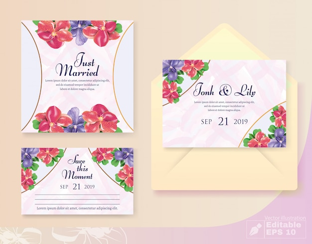Uitnodiging en groet bruiloft ingesteld met bud decor