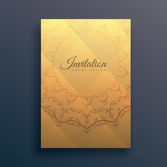 Uitnodiging flyer ontwerp met mandala decoratie