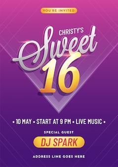 Uitnodiging kaart ontwerp voor sweet 16 feestviering