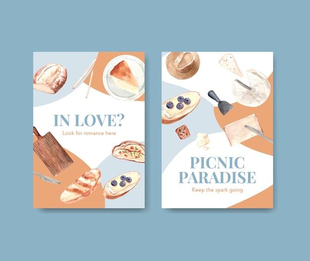 Uitnodiging kaartsjabloon met europese picknick conceptontwerp voor feest en bijeenkomst aquarel illustratie.