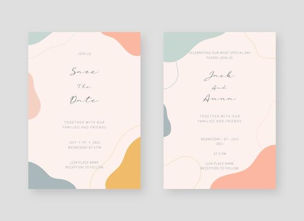 Uitnodiging kaartsjabloon. set bruiloft uitnodiging kaartsjabloon
