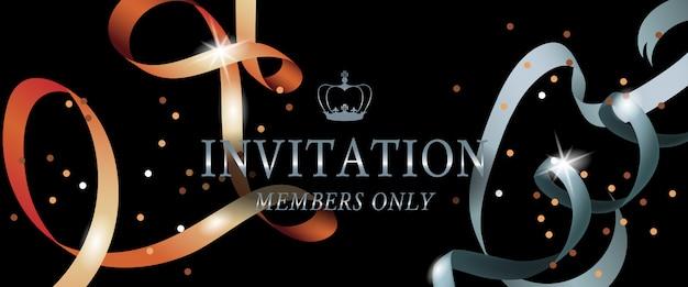 Uitnodiging leden alleen banner met glanzende linten