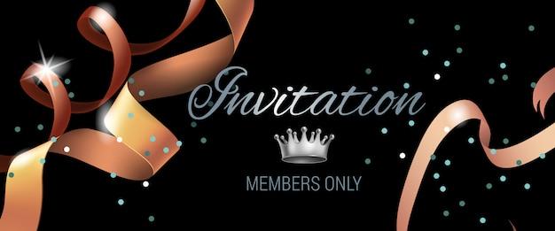 Uitnodiging leden alleen banner met swirl linten