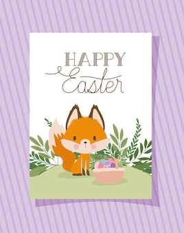 Uitnodiging met happy easter belettering met een schattige vos en een mand vol met paaseieren illustratie ontwerp