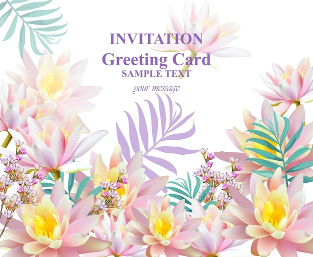 Uitnodiging of wenskaart met waterlelie bloemen