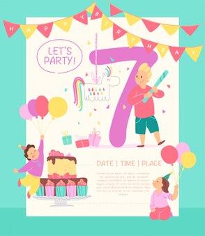 Uitnodiging poster verjaardagsfeestje. flat cartoon stijl.