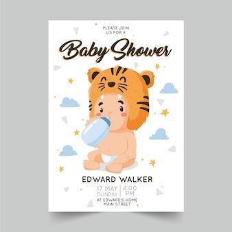 Uitnodiging sjabloon babyjongen douche