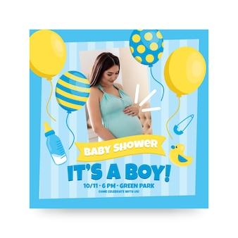 Uitnodiging sjabloon voor jongen babydouche