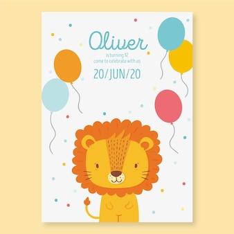 Uitnodiging sjabloon voor verjaardagsfeestje voor kinderen