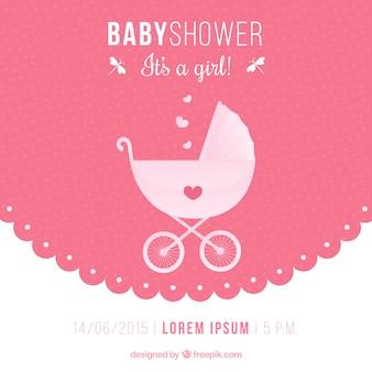 Uitnodiging van de babydouche met een baby buggy