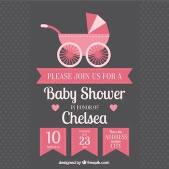 Uitnodiging van de babydouche met kinderwagen