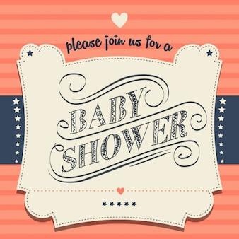 Uitnodiging van de douche in retro stijl