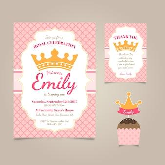 Uitnodiging van de verjaardag van de prinses