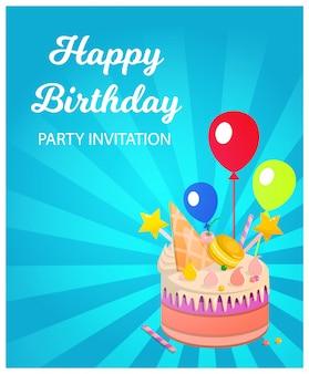 Uitnodiging van de verjaardagspartij van de bannerinschrijving de gelukkige