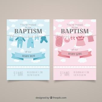 Uitnodiging van het doopsel kaarten