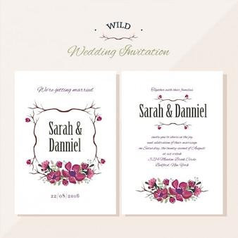 Uitnodiging van het huwelijk bloemdessin