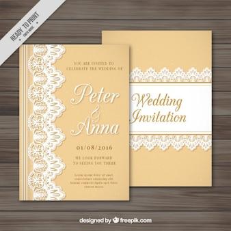 Uitnodiging van het huwelijk met kant