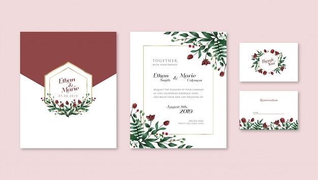 Uitnodiging van het huwelijk van de waterverf de rode tulpen