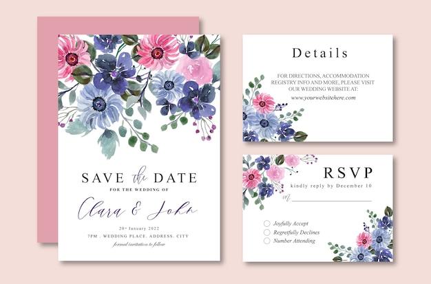 Uitnodiging van het huwelijk van de waterverf van de winter de zachte paarse bloemen