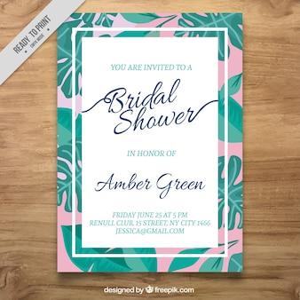 Uitnodiging van het vrijgezellenfeest met groene bladeren