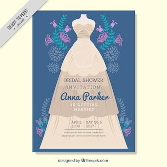 Uitnodiging van het vrijgezellenfeest met paarse bloemen en trouwjurk