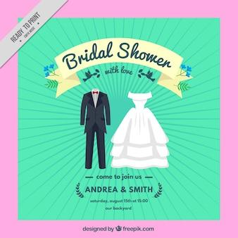 Uitnodiging van het vrijgezellenfeest met trouwkleding