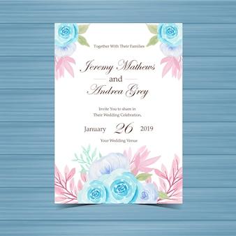Uitnodiging van het waterverf de bloemenhuwelijk met pastelkleurrozen
