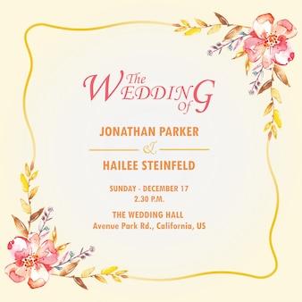 Uitnodiging van het waterverf de elegante eenvoudige huwelijk
