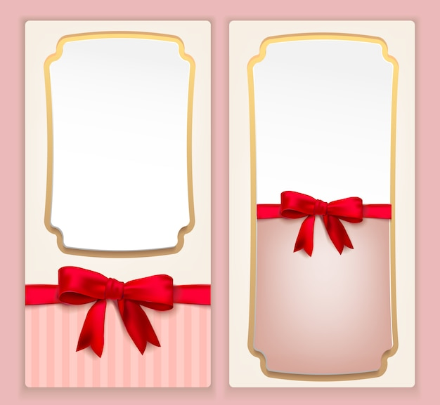 Uitnodiging vintage flyer in roze met rode strik voor bruiloft en evenementen. illustratie.