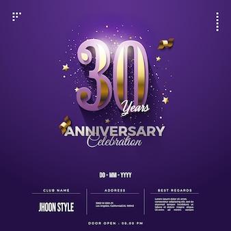 Uitnodiging voor 30-jarig jubileumfeest met gouden cijfers