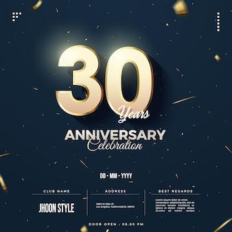 Uitnodiging voor 30-jarig jubileumfeest met gouden glitter