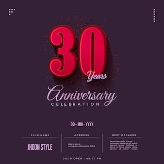Uitnodiging voor 30-jarig jubileumfeest met rode cijfers