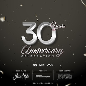 Uitnodiging voor 30-jarig jubileumfeest met schone zilveren cijfers