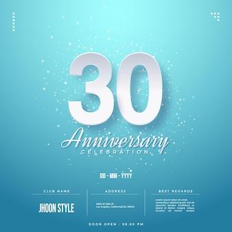 Uitnodiging voor 30-jarig jubileumfeest met wit nummer