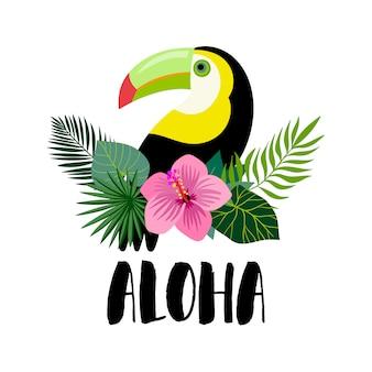 Uitnodiging voor aloha met toekan, exotische planten en handschrift