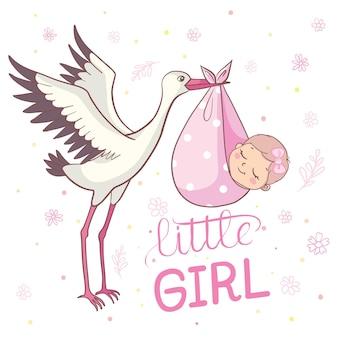 Uitnodiging voor baby shower met ooievaar. baby douche kaartsjabloon. baby shower uitnodiging met baby