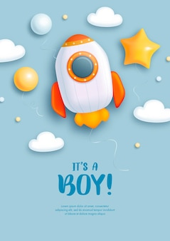 Uitnodiging voor babyshower voor babyjongen