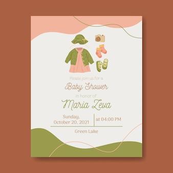 Uitnodiging voor babyshowersjabloon voor babymeisje met warme kleuren in aardetinten