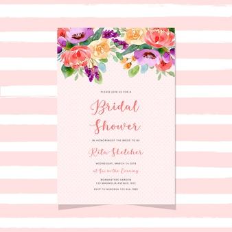 Uitnodiging voor bruids douche met aquarel bloemenkop