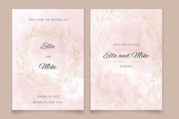 Uitnodiging voor bruiloft in aquarel stijl met gouden bloemen