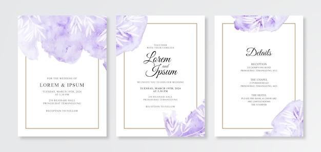 Uitnodiging voor bruiloft kaart met aquarel splash en gouden frame